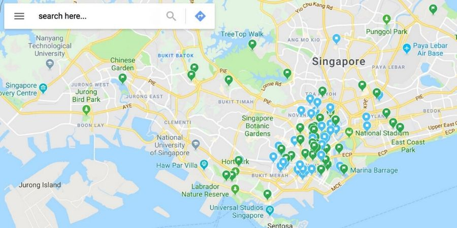 """A map of all my pins for """"want to go"""" (green pins) and """"eat"""" (blue pins) in Singapore."""