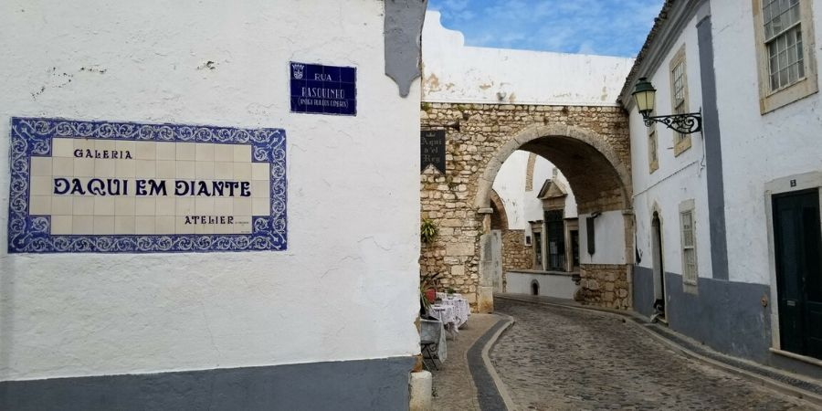 Cobbled stone streets of Faro in the Algarve