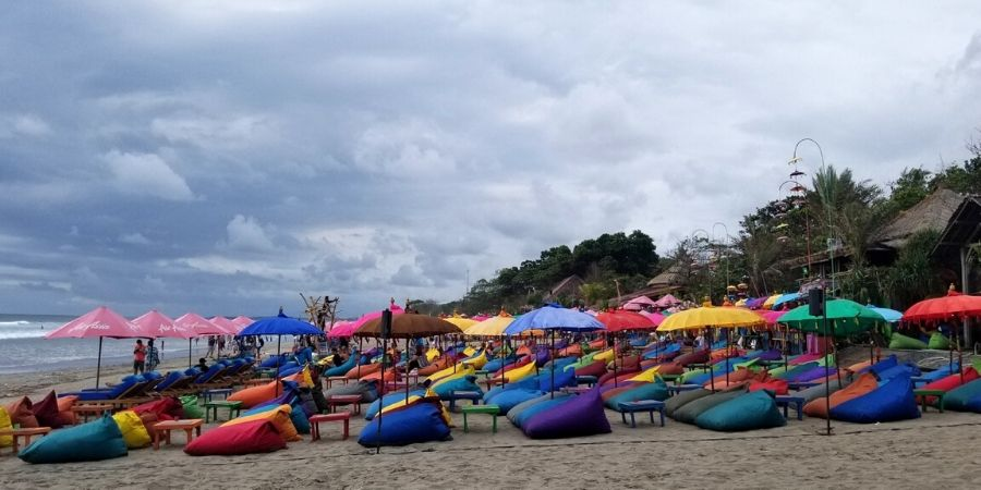 Relax on one of the colourful beanbags at La Plancha on Double Six Beach in Seminyak, Bali