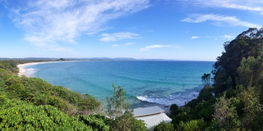 A panoramic view of Byron Bay Beach from Cape Byron