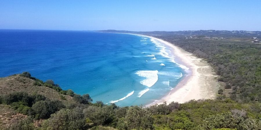 An unobstructed view of Tallow Beach from Cape Byron
