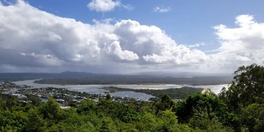 On a clear day, you can see Noosa Heads Main Beach and Glasshouse Mountains from Laguna Lookout
