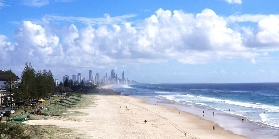 View of Surfers Paradise and Miami Beach from Mick Schamburg Park in North Burleigh