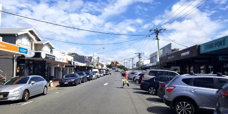 Boutique shops and restaurants line both sides of James Street in Burleigh Heads.