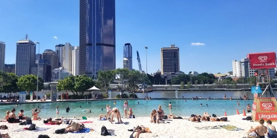 Enjoy Streets Beach, a city beach right in the middle of Brisbane.
