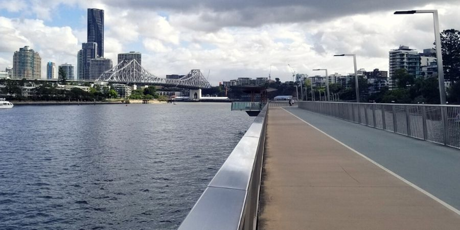 View of Brisbane CBD from Riverwalk in New Farm