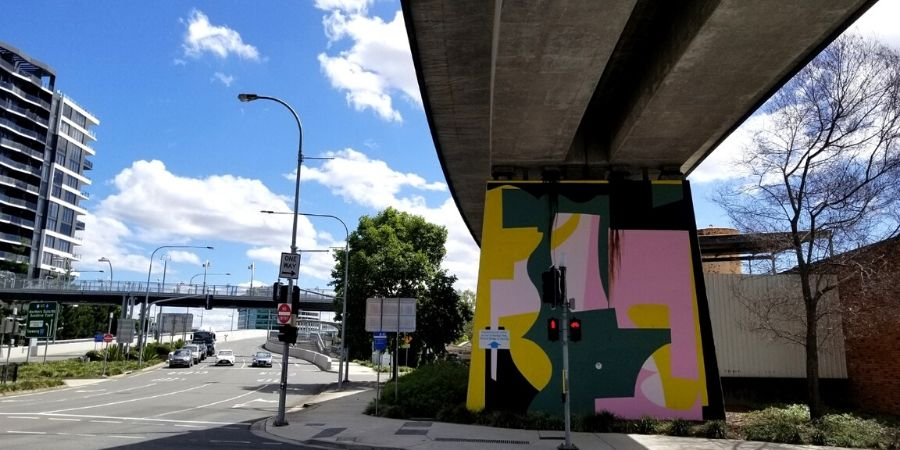 Colourful outdoor murals for the Pillars Project in South Bank, Brisbane
