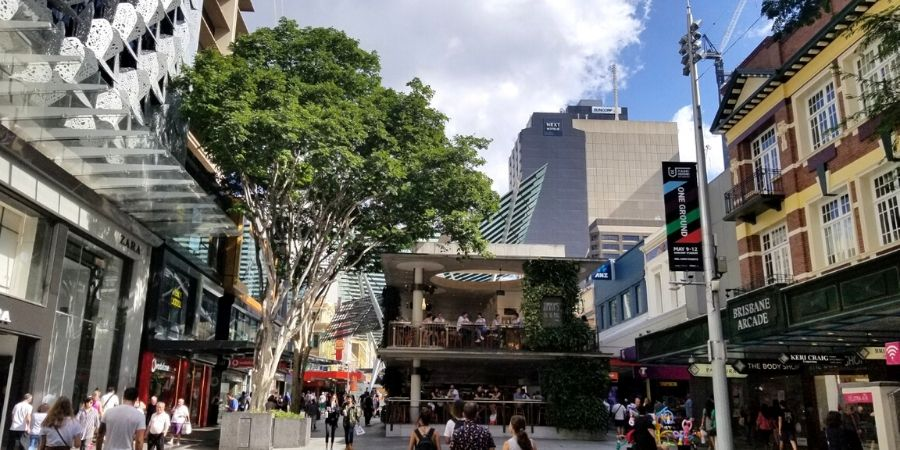 Queen Street Mall is the shopping street in Central Business District (CBD) of Brisbane