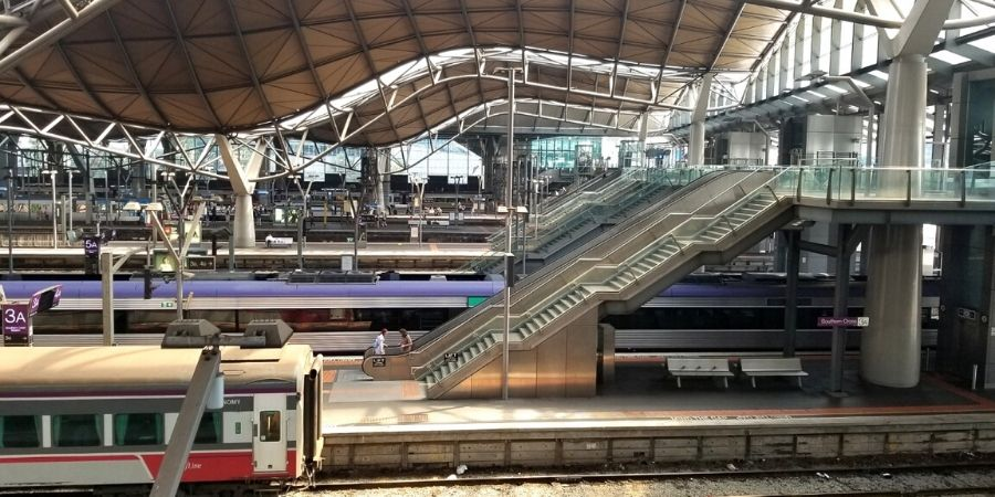 The interstate train leaves Melbourne Southern Cross Station to Sydney Central Station twice daily.