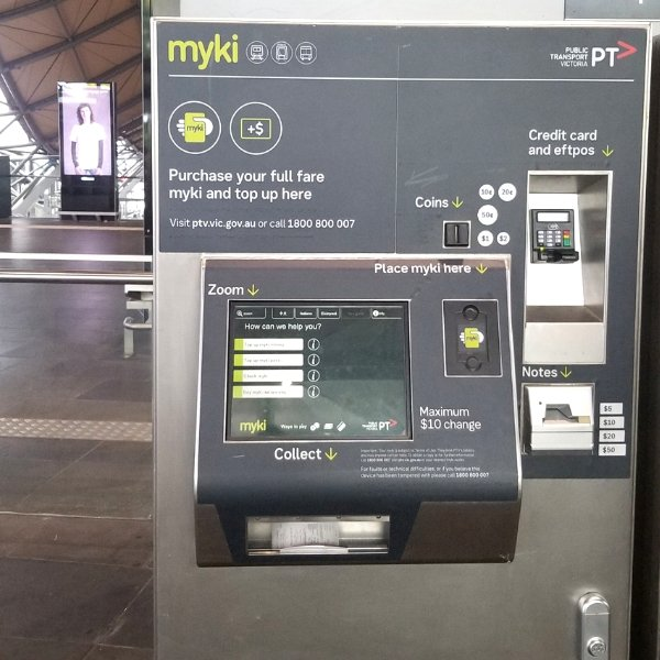 Rechargeable smartcards can be purchased and top up at a kiosk at any major public transportation hub.