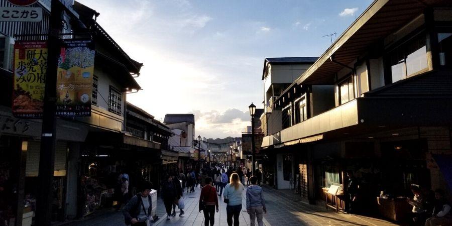 Tenjinsama-dori, the main shopping street in Dazaifu, has retail stores and restaurants in traditional Japanese houses.