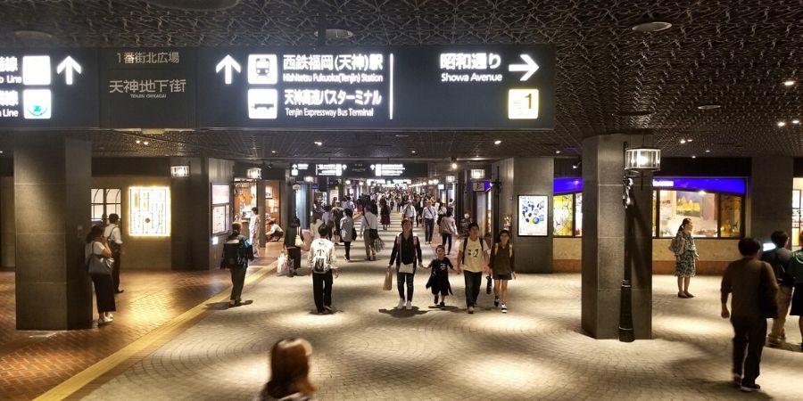 Explore Tenjin Chikagai (underground shopping mall), the largest underground shopping centre in Kyushu.