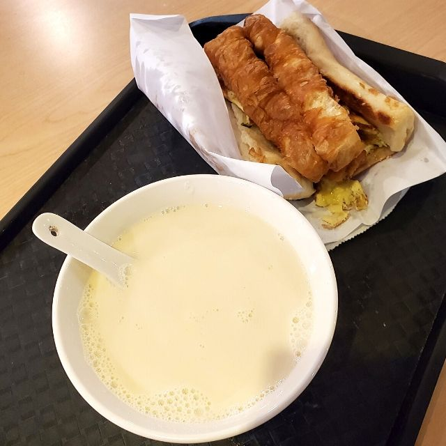 #13 signature thick bread with donut stick and #1 hot soy milk at Fuhang Soy Milk.