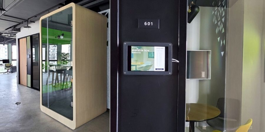 Many types of private office pods on the 6th floor of Kafnu Taipei.