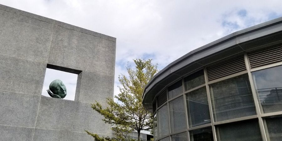 Modern exterior complements the contemporary exhibits at the National Taiwan Museum of Fine Arts.