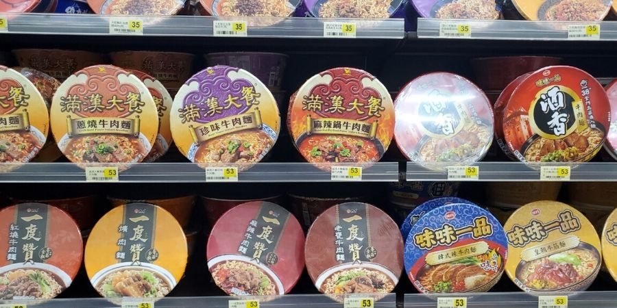 Every 7 11 in Taiwan have shelves of niu rou mian (classic beef flavour) cup of noodles