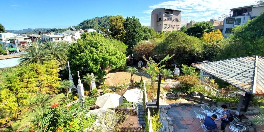Climb the wrought iron staircase to see a panoramic view of the park.