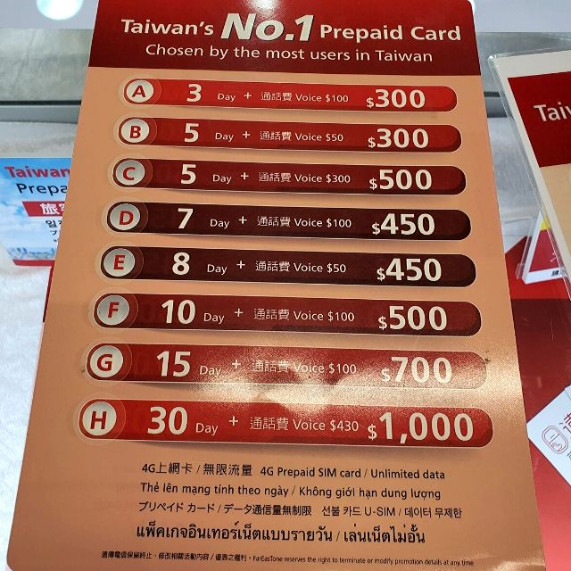 Prepaid SIM card rates at Far EasTone, which is similar to Chunghwa SIM card plans.