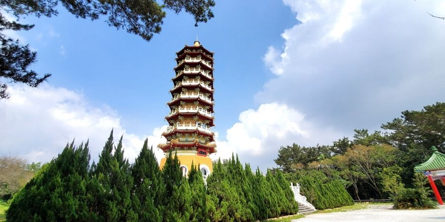 Climb up Cien Pagoda to see an unobstructed view of Sun Moon Lake.