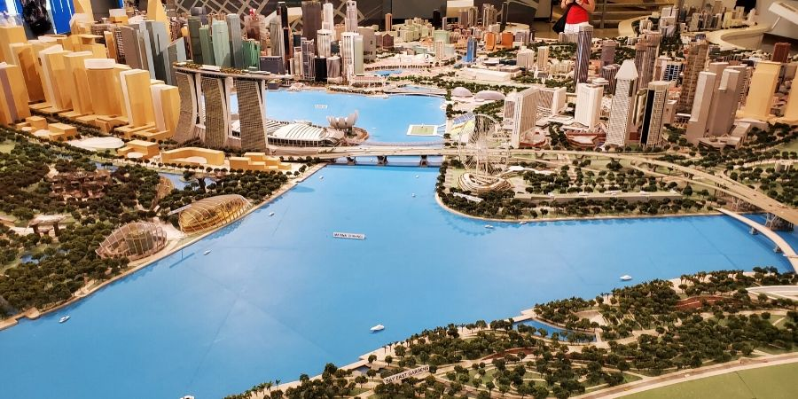 A 3d architectural model of Singapore at the Singapore City Gallery.