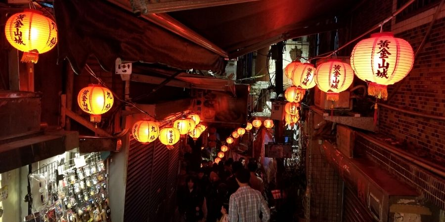 Lanterns along both sides of Jiufen Old Street.