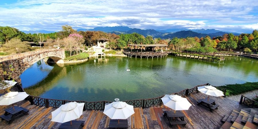 Check out the view of the pond from the castle at Xinshe Castle.