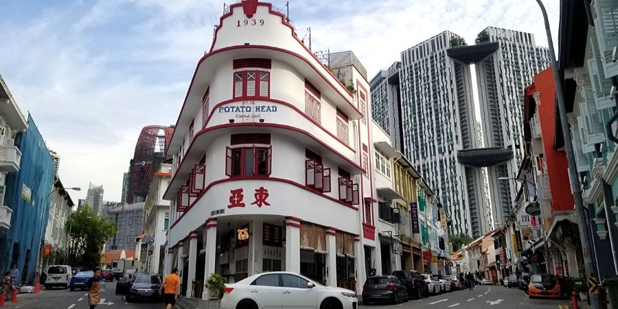 Restored shophouses in Tanjong Pagar
