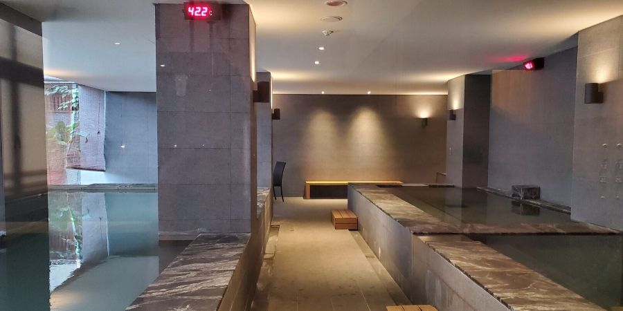 Various hot spring pools in the public spa facilities in Waterhouse Hotel