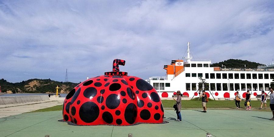 Red Pumpkin at Miyanoura Port on Naoshima Island