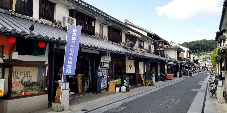 Streets of Kurashiki Bikan Historical Quarter are full of traditional Japanese houses