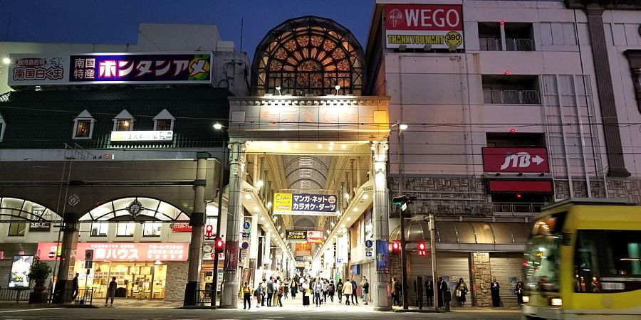 Tenmonkan arcade is busy during day and night