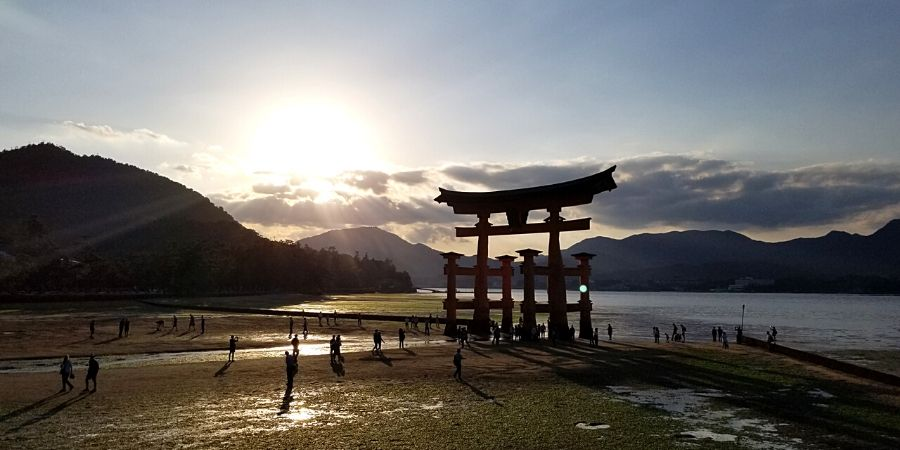 Low tide at Itsukushima Floating Torii Gate