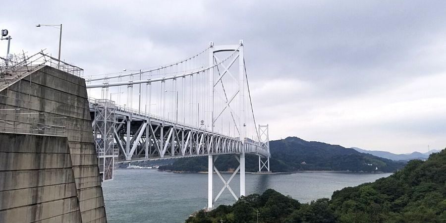 First glimpse of Innoshima Bridge along Shimanami Kaido