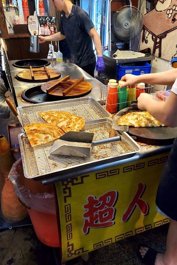 Pan-fried scallion pancake at Feng Chia Night Market