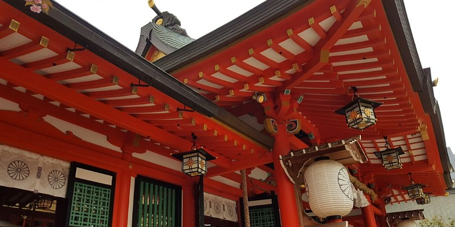 Colourful Ikuta Shrine in Kobe, Japan