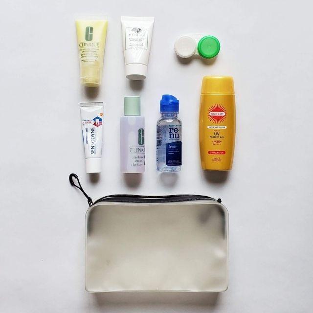 travel size toiletries + TSA-approved travel toiletry bag