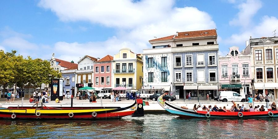 The perfect Aveiro day trip from Porto includes a moliceiro boat tour through the canals.